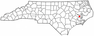 Map showing location of Aurora, NC